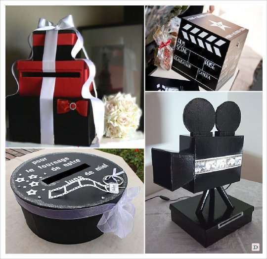 Mariage theme cinema idees for Decoration urne de mariage
