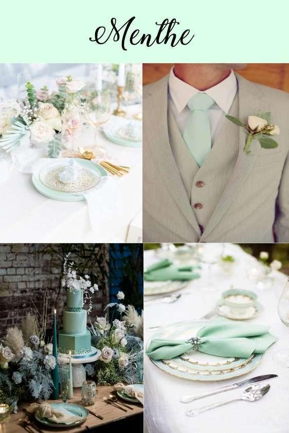 couleurs mariage 2020 deco vert menthe pastel