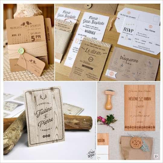 faire part mariage rustique kraft bouton couture bois