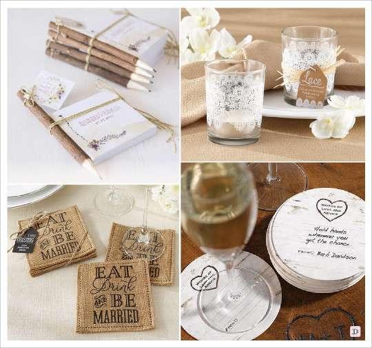 mariage rustique cadeaux invités bloc note photophore en verre dessous verre écorce
