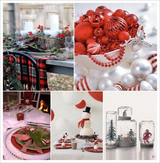 Decoration table noel theme hiver accueil design et mobilier - Deco centre de table noel ...