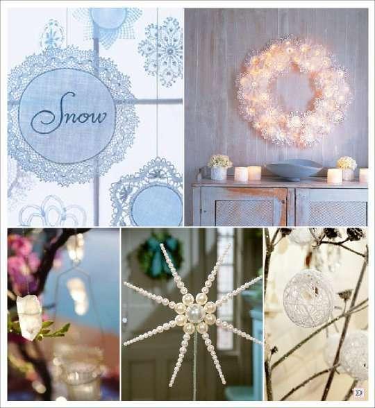 mariage hiver decoration salle plafond guirlande flocon cristal boule de laine