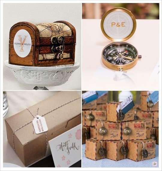 cadeaux inivtes mariage voyage coffre en bois boussole boite dragées kraft