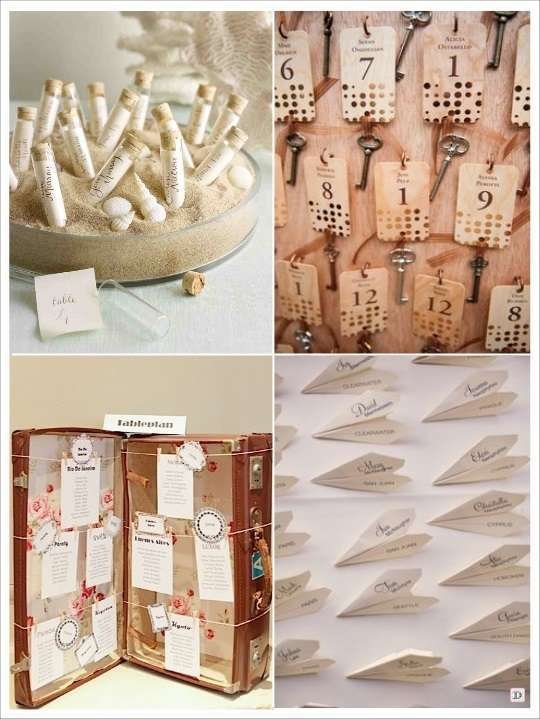 decoration mariage voyage escort cards eprouvette valise cles