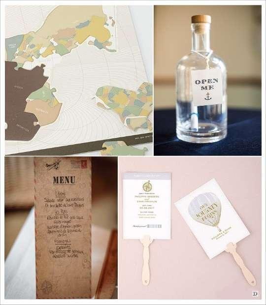 carte menu decoration mariage voyage bouteille eventail puzzle carte géographique