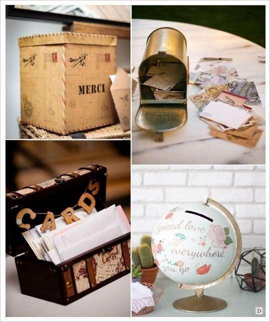mariage voyage urne boite aux lettres coffre globe