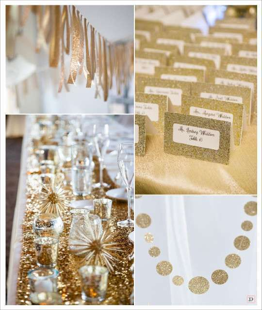Mariage tendance paillet glitter d corations de mariage for Chemin de table beige
