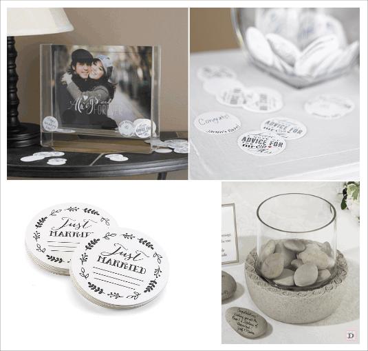 idées livre d'or mariage confettis à messages dessous verre galet