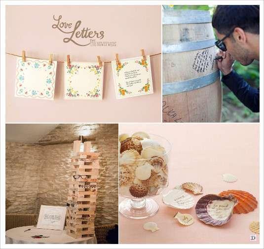 idées livre d'or mariage coquillage jeu mikado mouchoir en tissu tonneau en bois