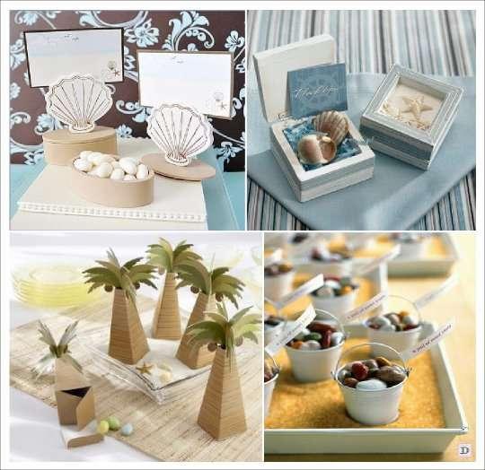 decoration mariage mer cadeaux boite dragees palmier seau