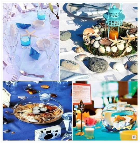 Mariage theme mer idees deco Centre table mariage plage idees
