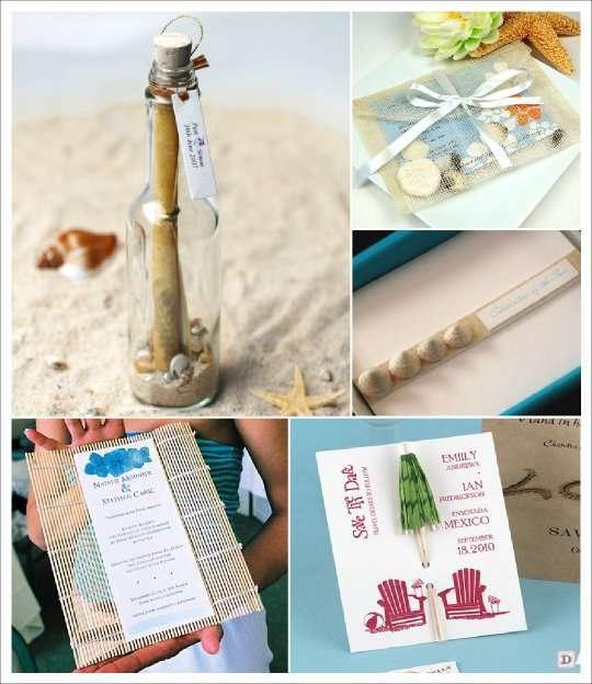 mariage mer faire part bouteille parasol