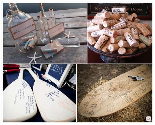 decoration mariage mer livre dor rame bouchon bouteille surf