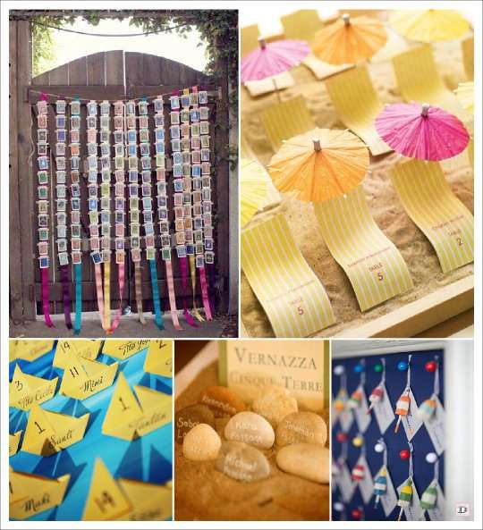 decoration mariage mer plan de table carte postale escort card voilier origami galet