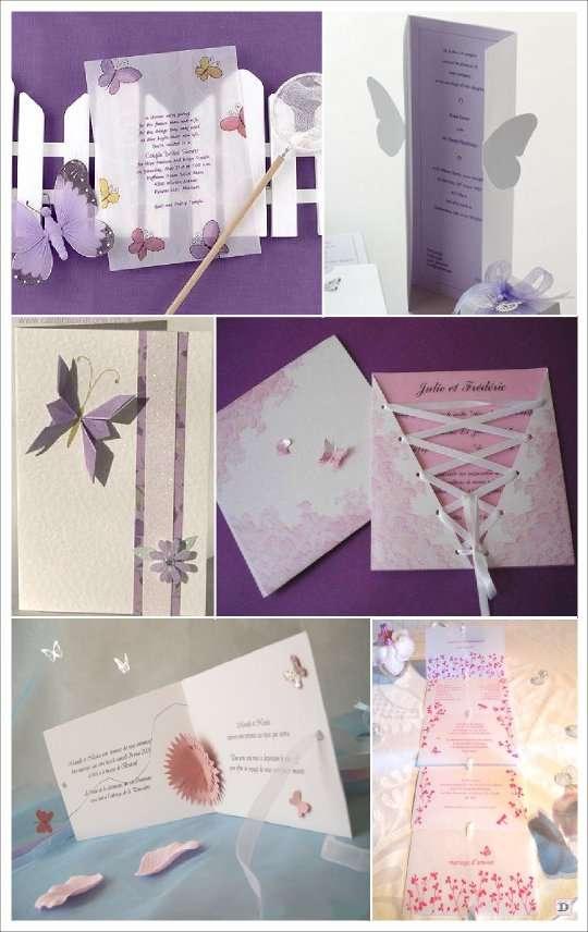 mariage papillon faire part  origami papier calque pop up