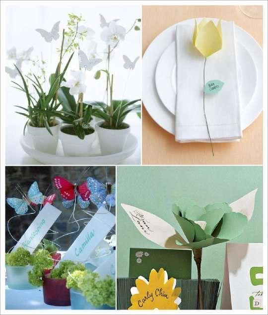 mariage papillon marque place pot plante fleur en papier