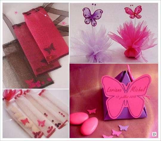 decoration mariage papillon pochon dragees