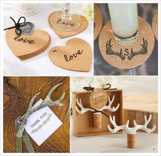 mariage rustique cadeaux invités coeur dessous verre liège ...