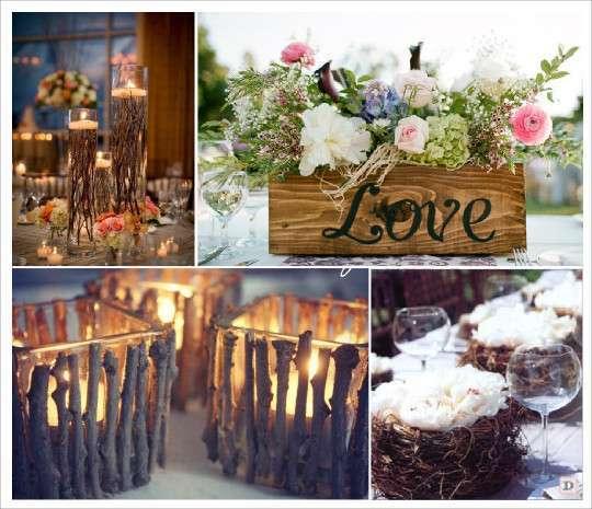 Decoration mariage rustique vive le bois for Pinterest centre de table