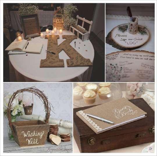 mariage rustique champêtre livre dor lettre en papier mache panier ...