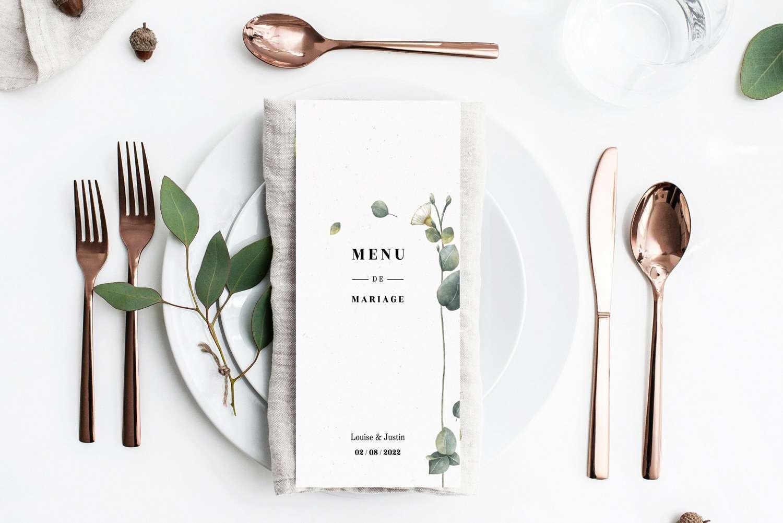 carte de menu mariage