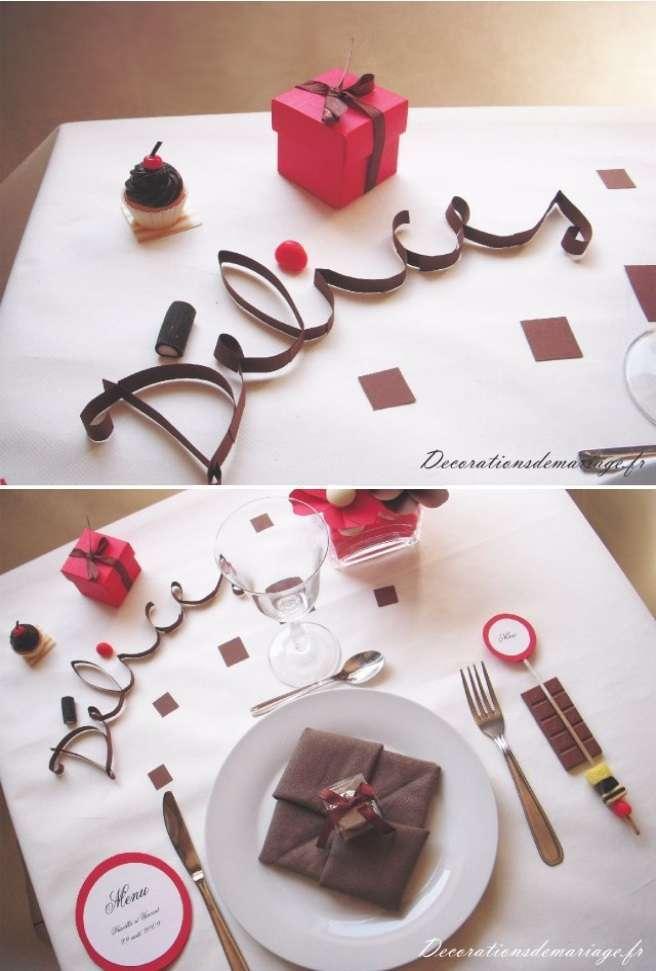 decoration mariage theme gourmandise ecriture nom de table papier roule