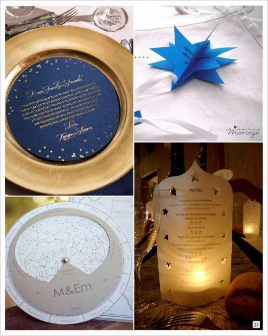 decoration mariage étoile menu 3D cercle lune tourniquet