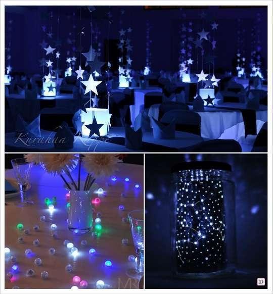 decoration salle thème etoile mariage photophore boule lumineuse