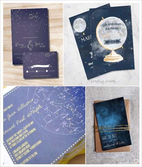 decoration etoile mariage faire part constellation