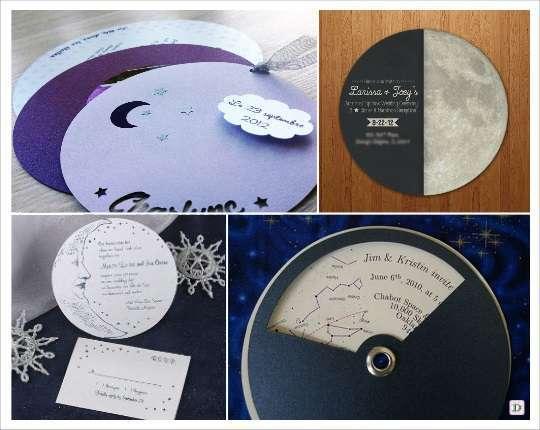 decoration mariage theme etoile faire part rond lune planete