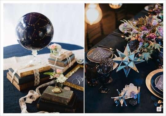 decoration mariage etoile centre table globe