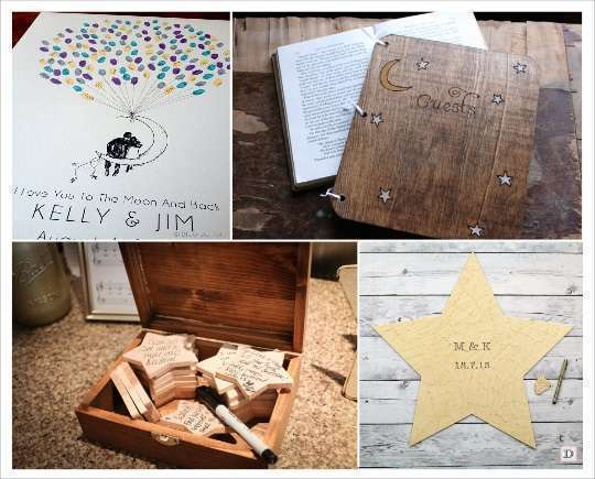 decoration mariage livre d'or toile à empreintes puzzle etoile en bois