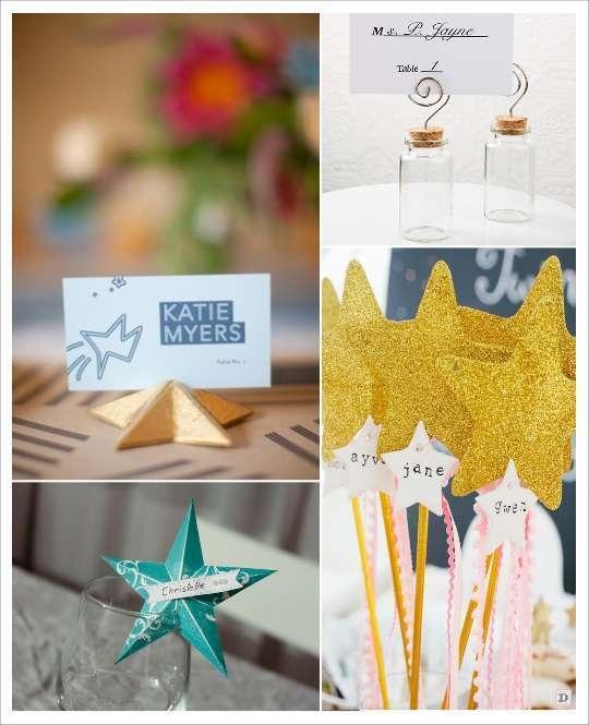 décoration thème étoile porte nom marque place éprouvette baguette magque origami