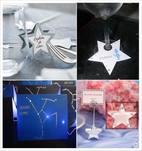 decoration mariage étoile marque place étoile sur verre constellation
