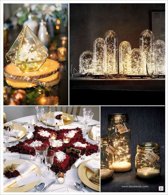 decoration thème étoiel deco de table guirlande lumineuse terarium