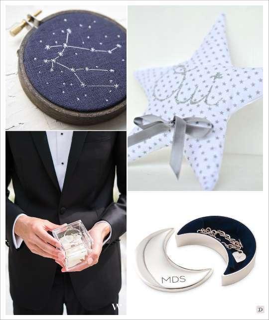 mariage thème etoile porte alliances cercle à broder constellation coussin etoile socle argile