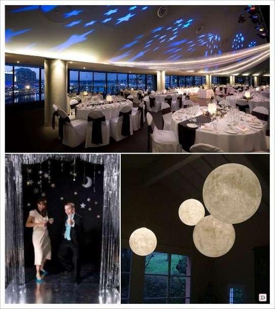 decoration mariage salle thème étoile lanterne lune rideau fils metallises