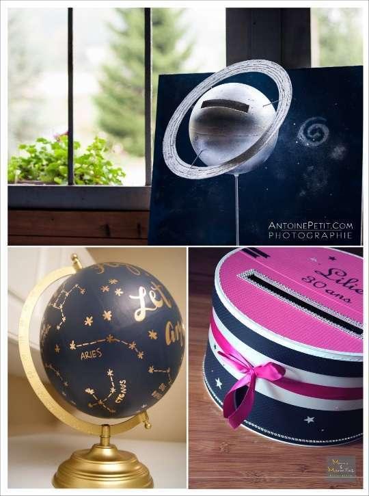 decoration mariage étoile urne tirelire planete globe