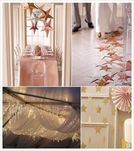 decoration salle mariage étoile suspendues sol voilage
