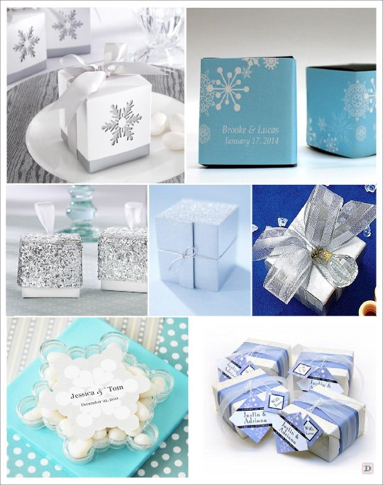 mariage hiver boite dragees cube personnalise flocon