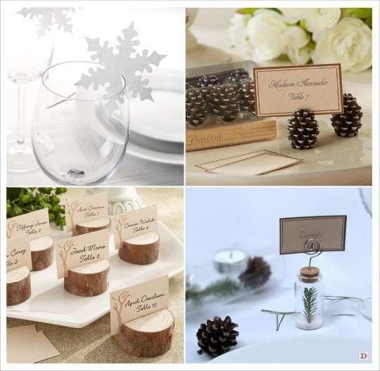 decoration mariage hiver marque place flocon rondin bois pomme de pin