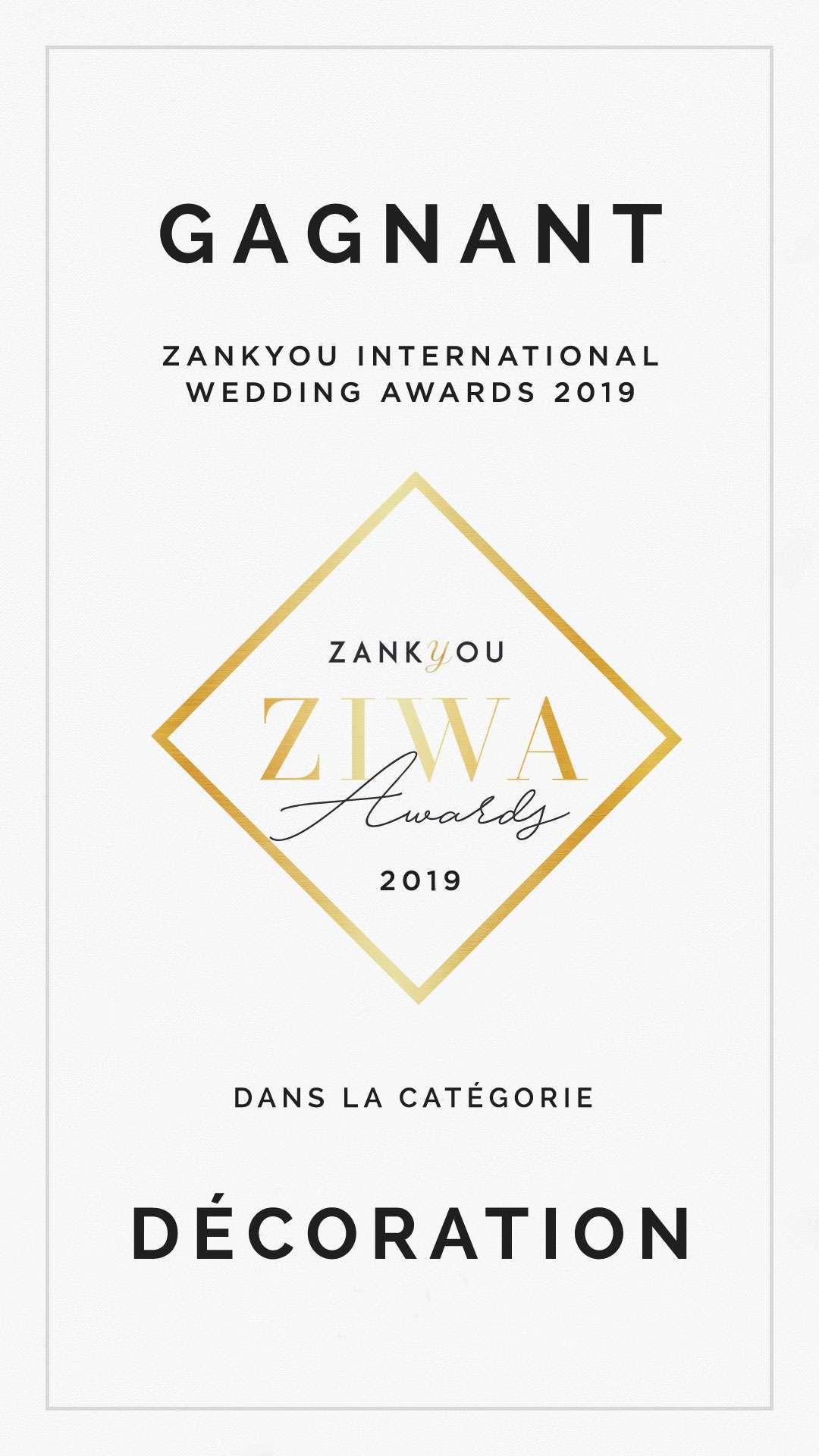 ziwa 2019 Gagnant Decorations de mariage