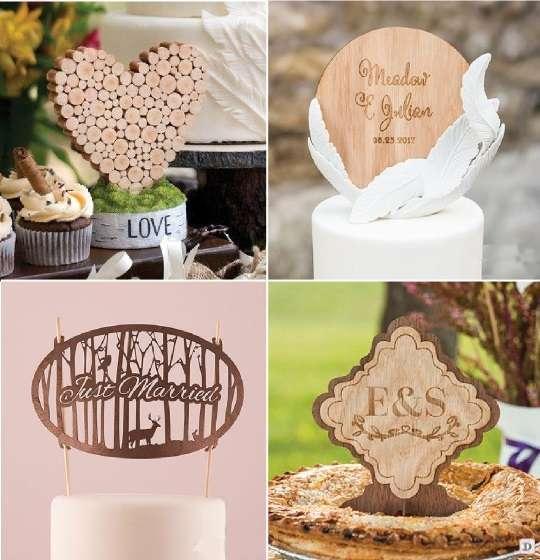 figurine gateau mariage bois coeur en rondin, inscription en bois gravure sur bois