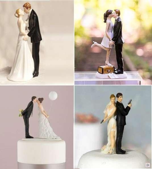 figurine mariage comique ballon mariee attrapant marié par la cravate espion valise
