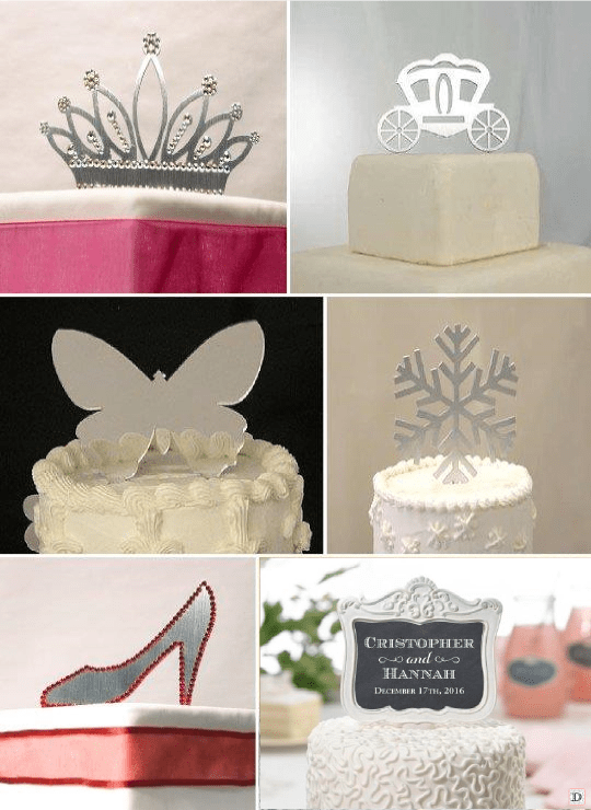 figurine mariage_gateau_piece_montee_metal_couronne_papillon_chaussure_pic ardoise personnalise