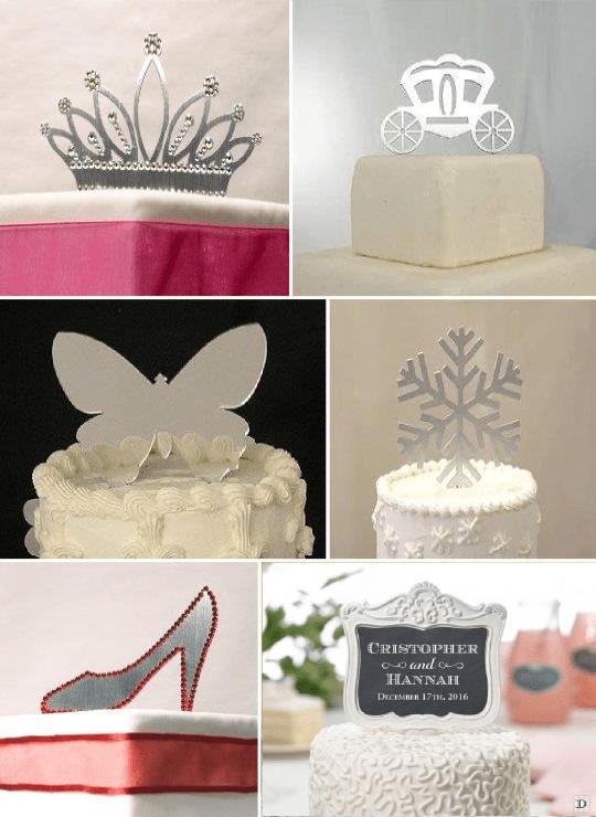 figurine mariage_gateau_piece_montee_metal_couronne_papillon_chaussure_pic ardoise personnalise