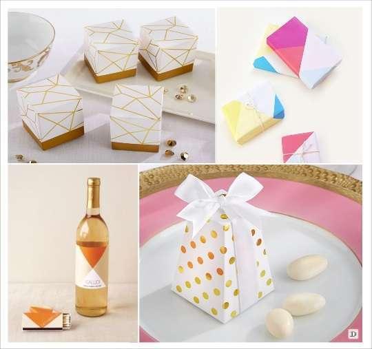 decoration mariage cadeaux invités boite dragées geometrique etiquette bouteille vin emballage forme goemetrique