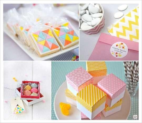 decoration mariage cadeaux invités boite dragées à motifs sticher triangle biscuit motif geometrique