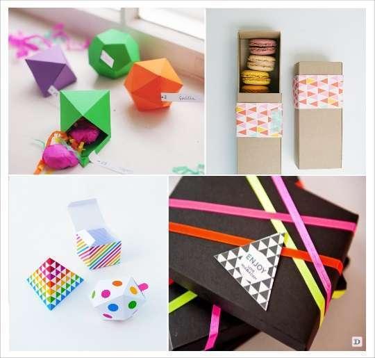 decoration mariage cadeau invites boite dragees polygone bande à motif ruban de couleur