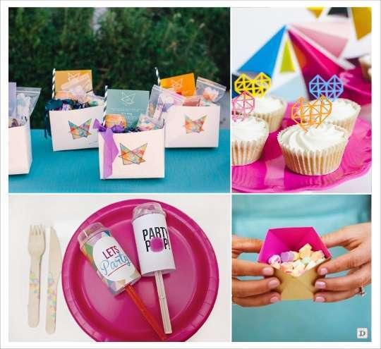 decoration mariage cadeau invites goodie bags cupcake push pop boite dragees polygone
